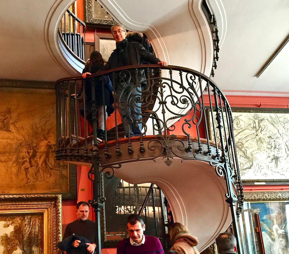my friend on the gorgeous spiral staircase in the Gustave Moreau Museum designed by architect Albert Lafon in 1895