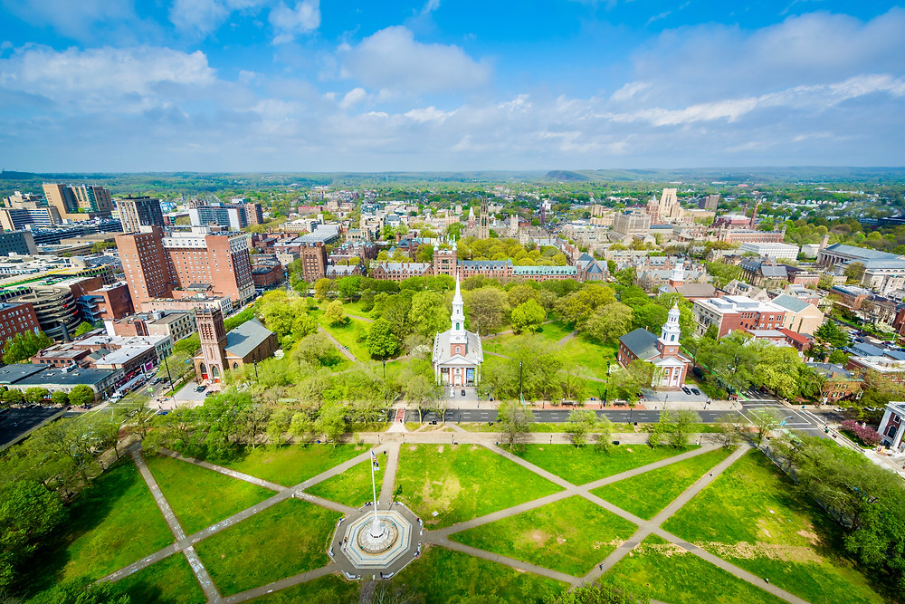 View of the New Haven Green and downtown