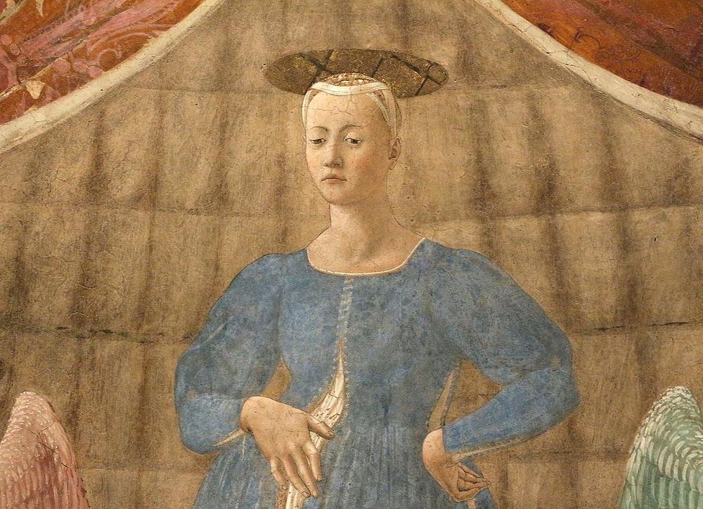 detail of the Madonna del Parto, Piero della Francesca's masterpiece in Monterchi