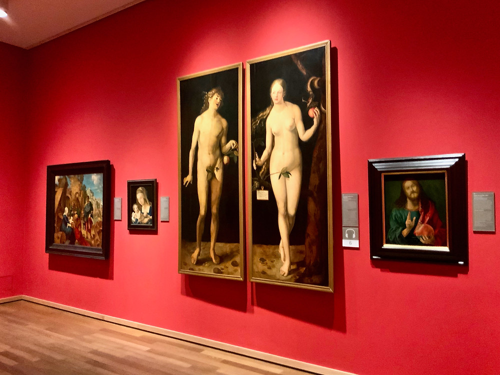 replica of Durer's famous Adam and Eve portrait in the Durer Gallery