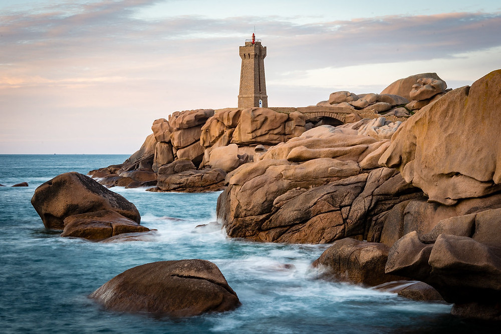 beautiful rock formations in Plumanac'h Brittany France