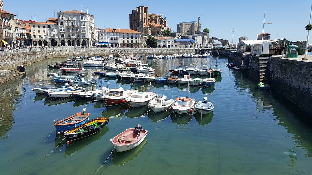 the pretty harbor of Castro Urdiales, a small fishing town in Cantabria