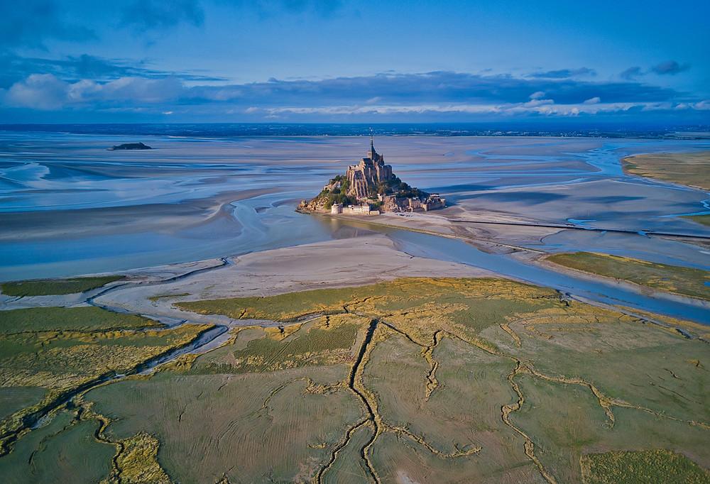 mudflat in Mont Saint-Michel