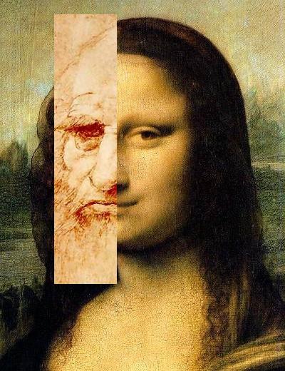 da Vinci self portrait superimposed on the Mona Lisa