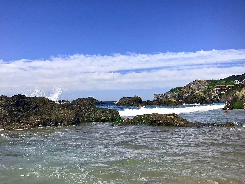 the surf at Bakio Beach in northern Spain