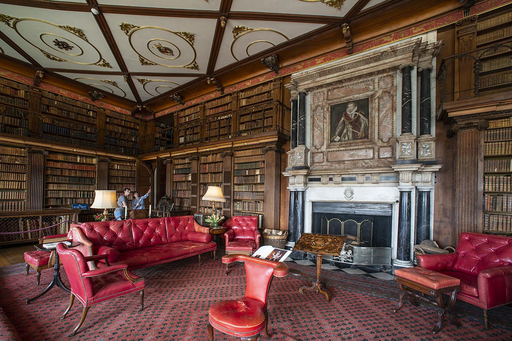 the regal Library of Hatfield House with over 10,000 books