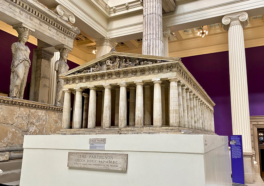 model of the Parthenon and, on the left, a replica of the Porch of the Maidens