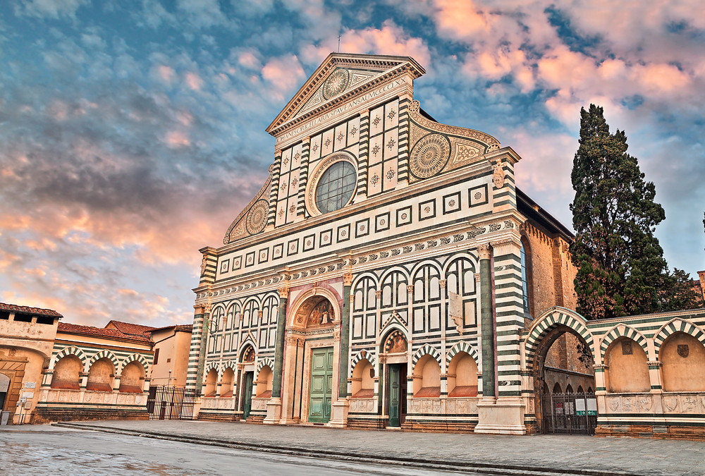 the beautiful facade of Santa Maria Novella in Florence