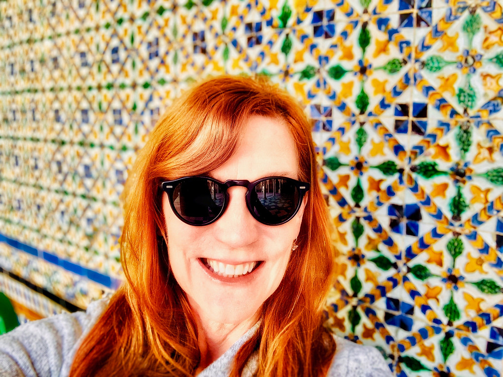 me enjoying the azulejo tiles