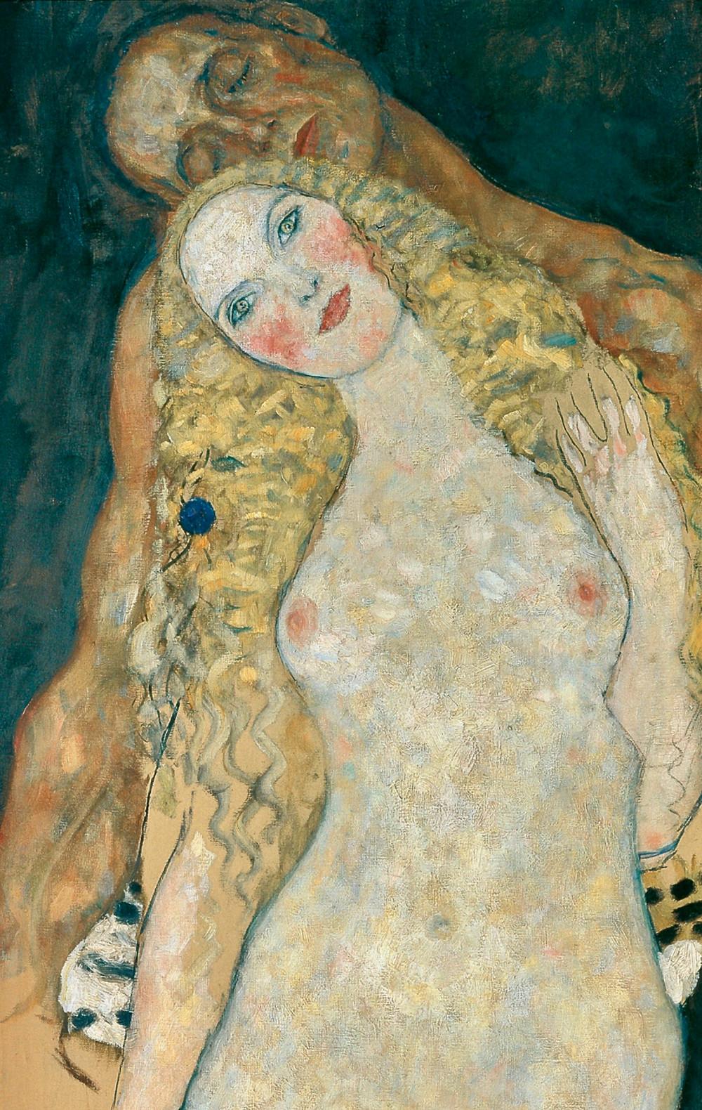 Klimt, detail of Adam and Eve, 1917-18