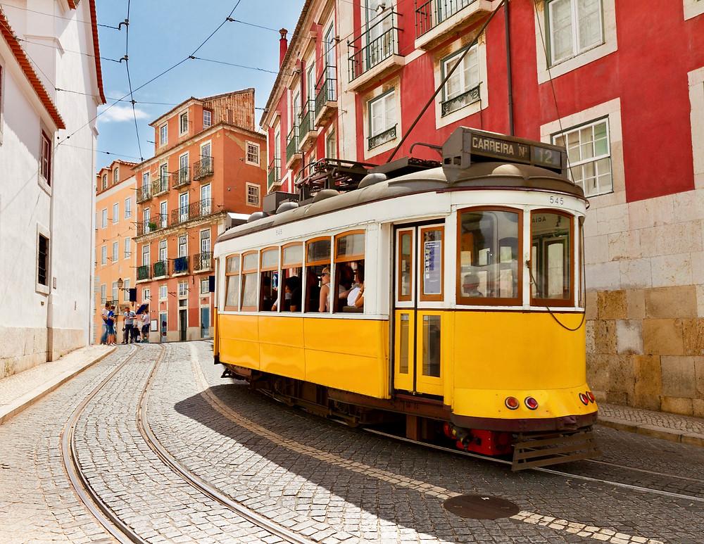 tram in Lisbon Portugal