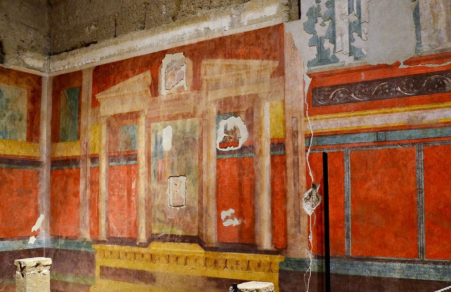Pompeian frescoes in the House of Augustus on Palatine Hill