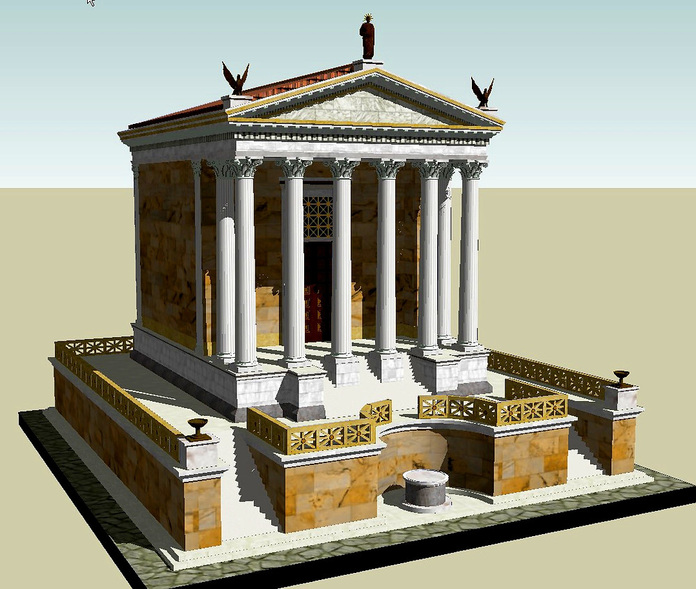 a reconstruction of what archaeologists think the Temple of Caesar looked like