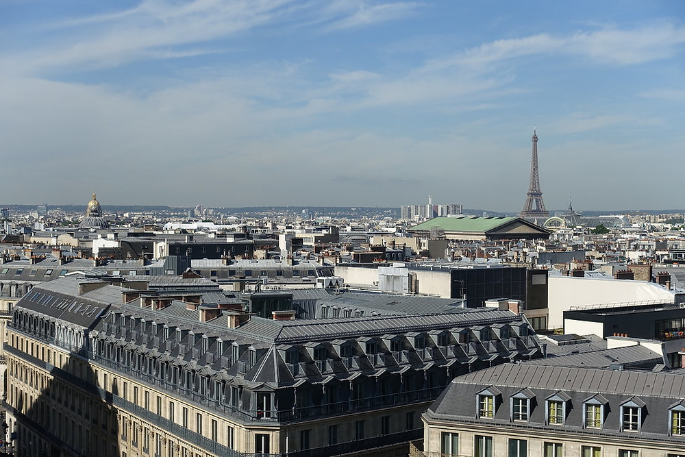 View from the rooftop terrace of Galeries Lafayette. On the left you can see the golden dome of Les Invalides and on the right the Eiffel Tower.