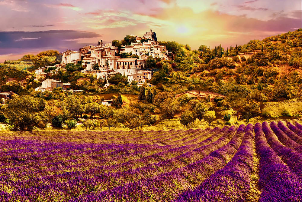 beautiful old town of Simiane la Rotonde with a lavender field