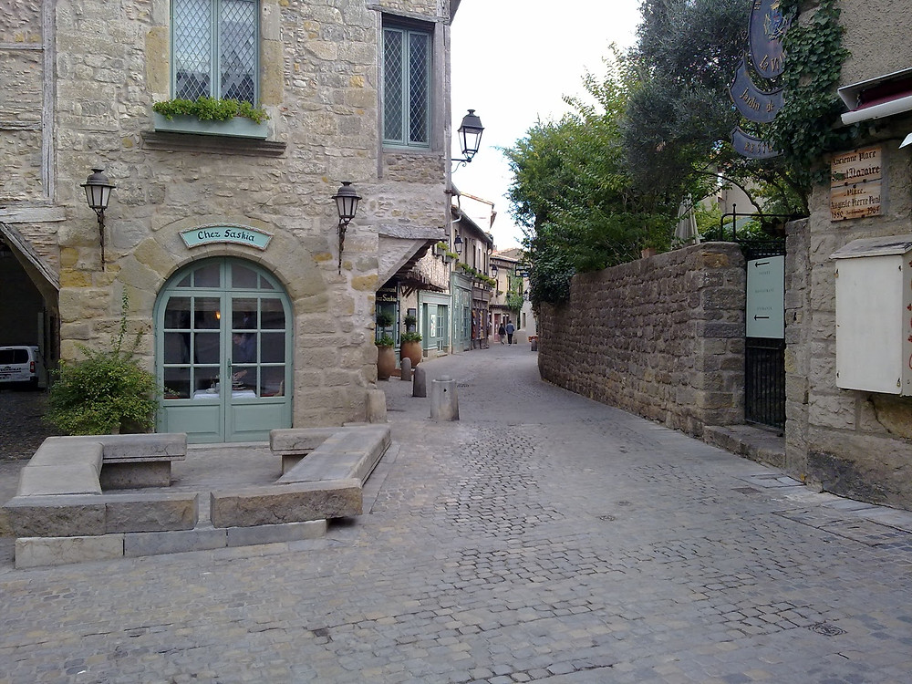 medieval stone street in the old town of Carcassonne