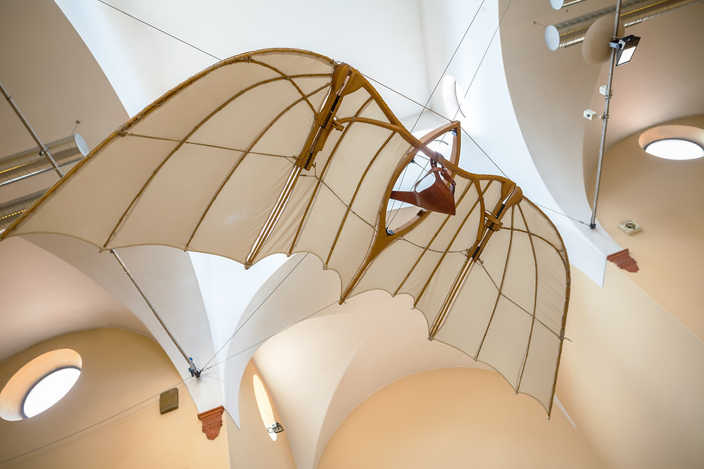 flying machine models of Leonardo da Vinci's scientific studies displayed at the Science and Technology Museum Leonardo da Vinci