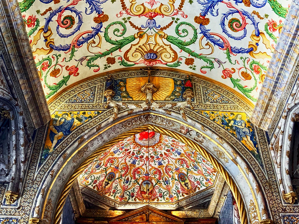 the absolutely gorgeous painted ceiling of St. Michael's Chapel