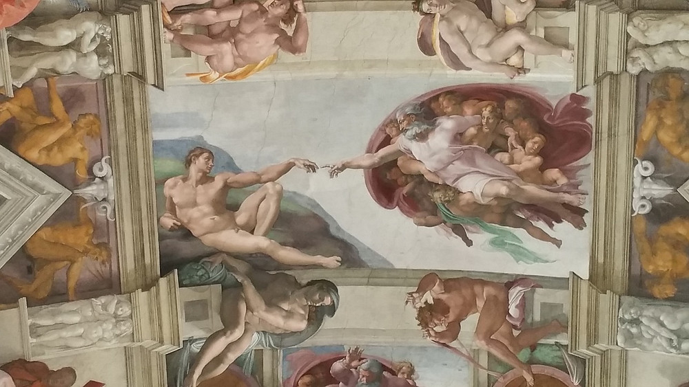 ceiling panel with the God Creating Adam fresco