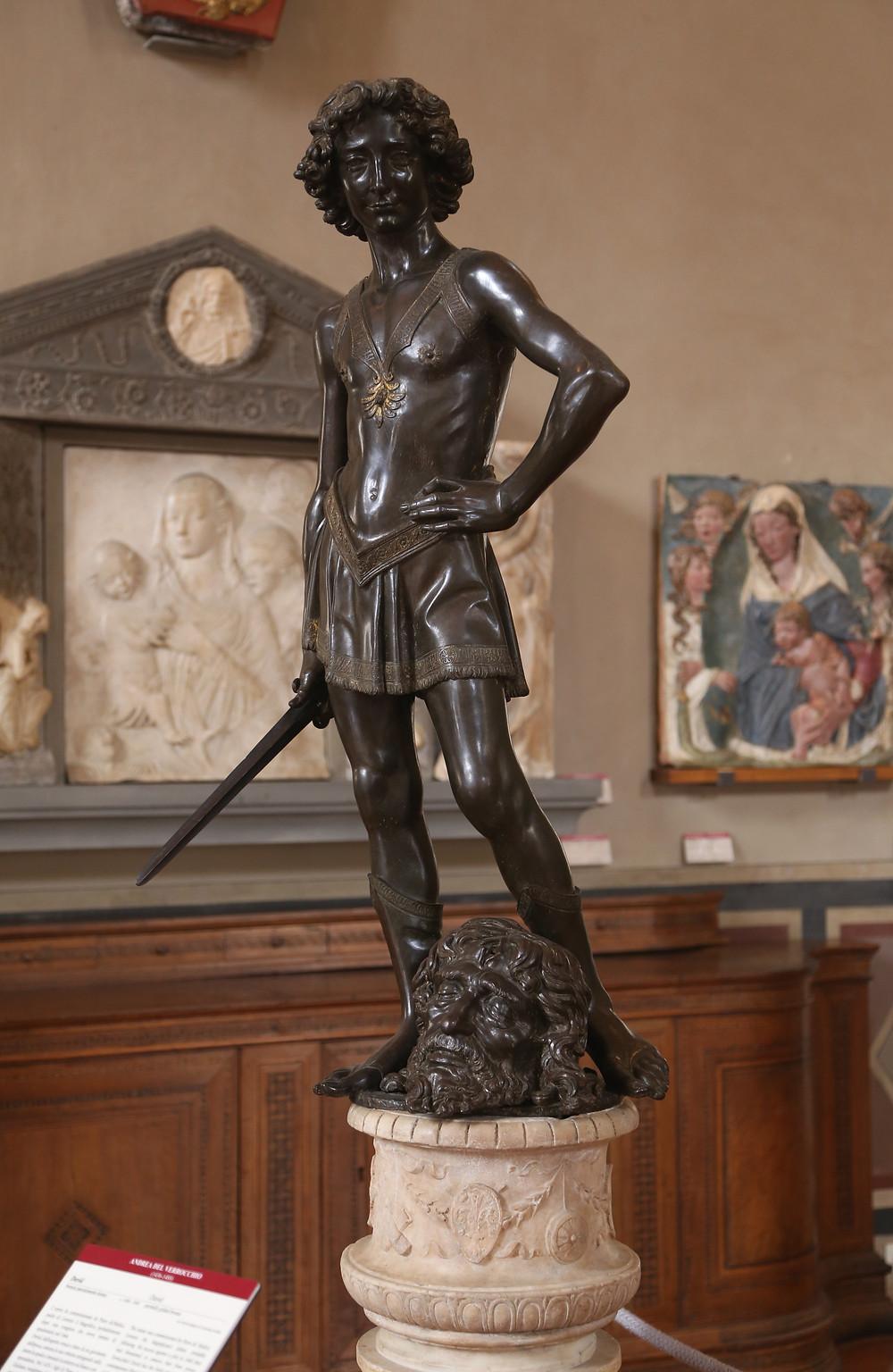 Verrochio, David, 1475, famous sculpture in Florence's Bargello Museum