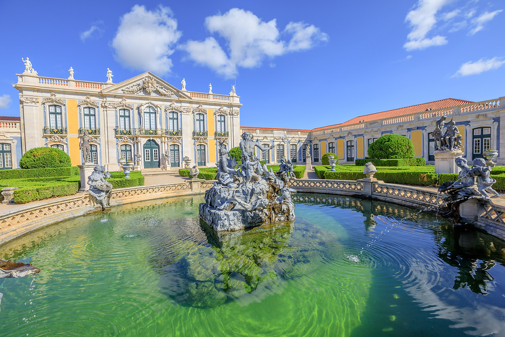 the Baroque facade of Queluz Palace