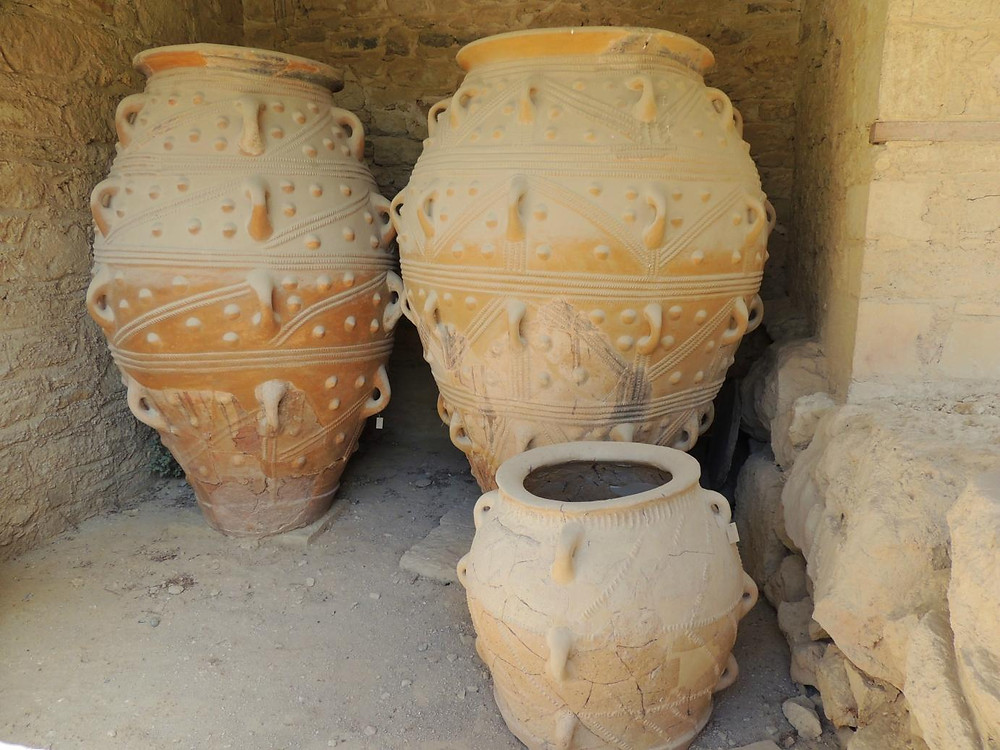 jars to store wine or olive oil, known as pithoi
