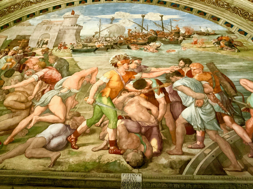 detail from frescos in the Room of Fire in the Raphael Rooms