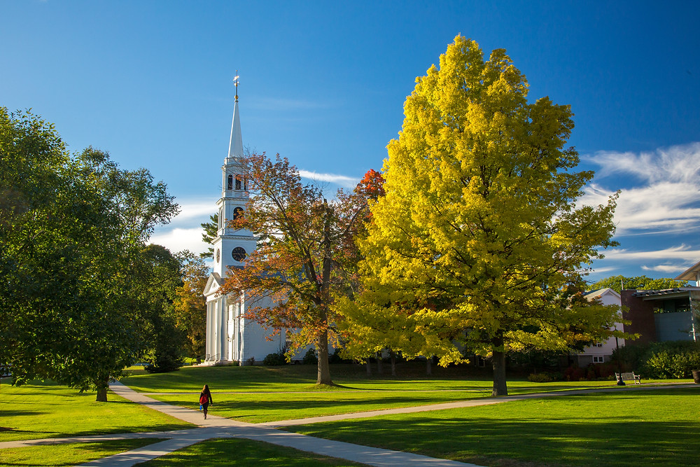 traditional New England white church with high steeple in Williamstown Massachusetts