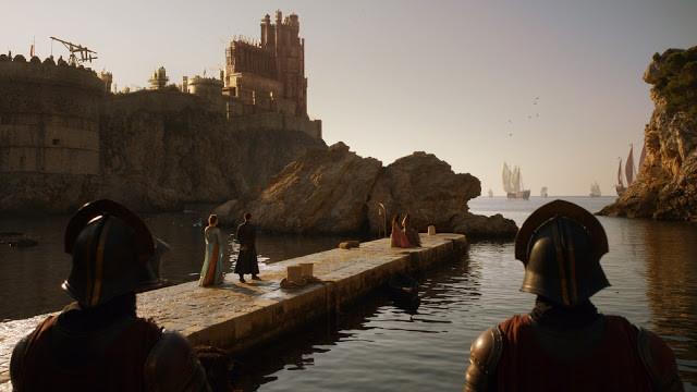 Sansa and Littlefinger on the pier in west Dubrovnik Harbor
