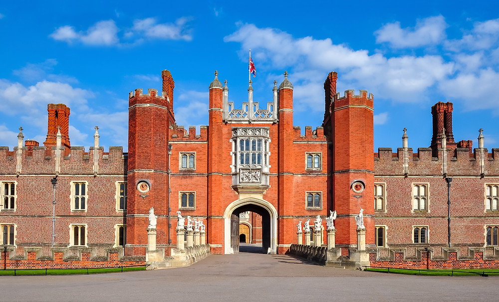 the Gothic facade and main entrance to Hampton Court Palace