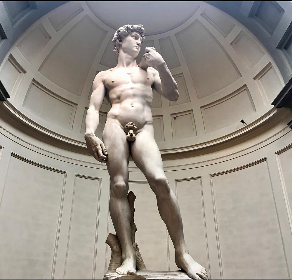 Michelangelo's original David in the Galleria dell'Accademia