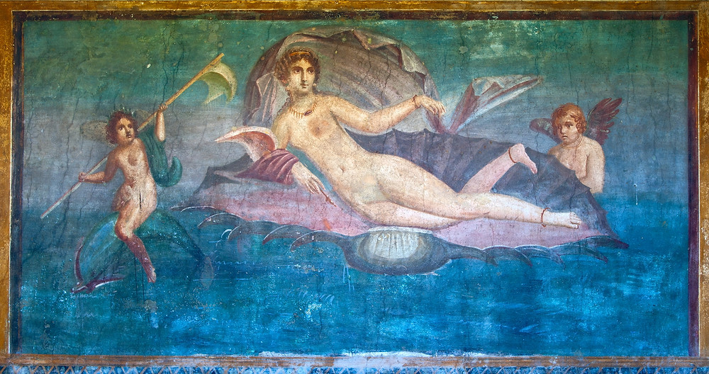 Venus in a Shell fresco in the ancient ruins of Pompeii