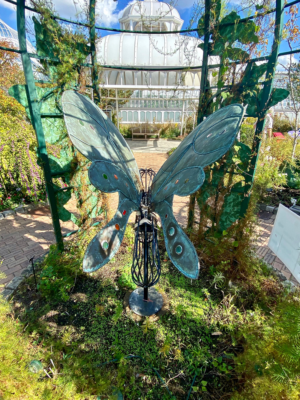 butterfly sculpture in the Outdoor Gardens at Phipps