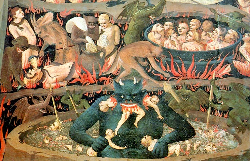detail from hell in Fra Angelico's The Last Judgment