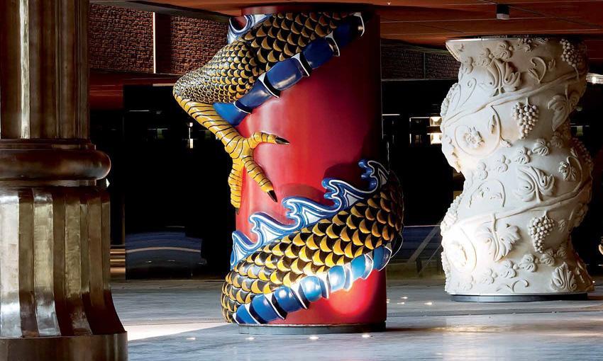 a colorful column in Bilbao's the colum of the Phillippe Stark designed Azkuna Zentroa