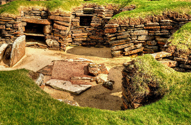 the Neolithic village of Skara Brae on the Orkney Islands