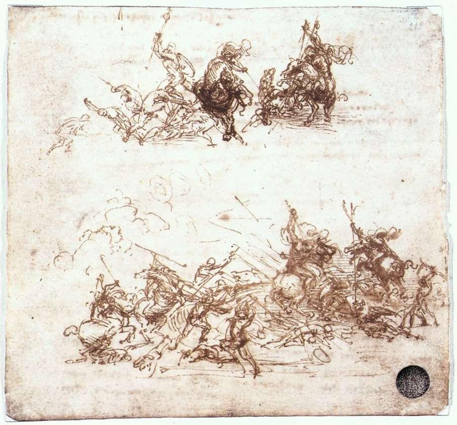 Leonardo study for the Battle of Anghiari, in Venice's Galleria dell'Academia