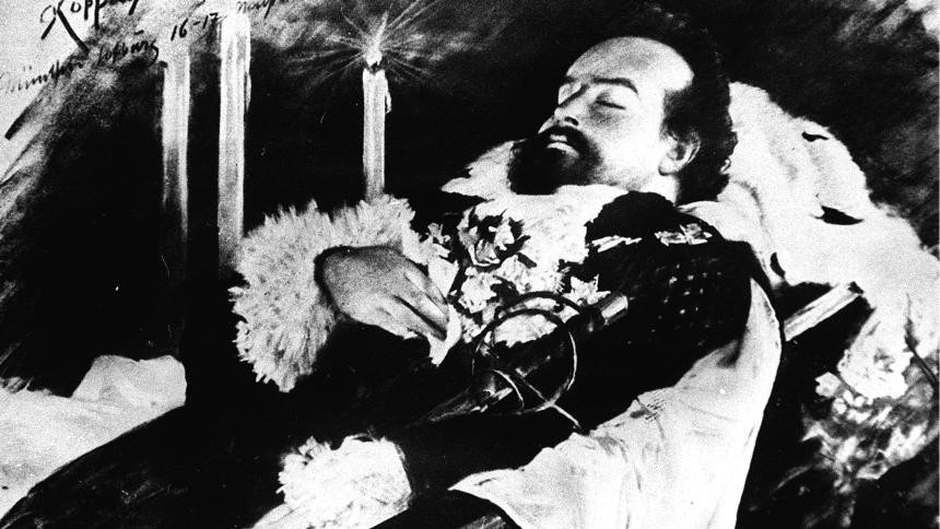 Ludwig II lying in state at his funeral