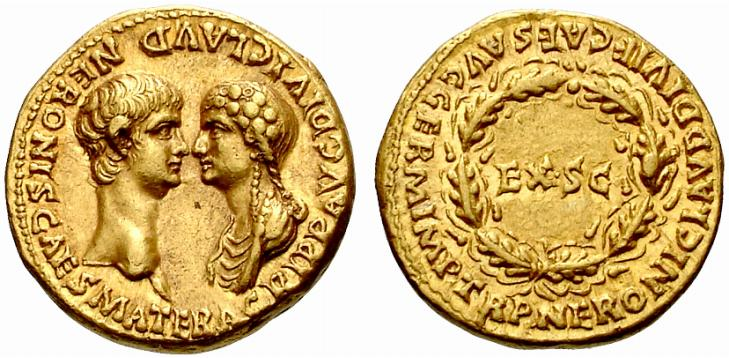 coin from Nero's rule showing both him and his mother Agrippina