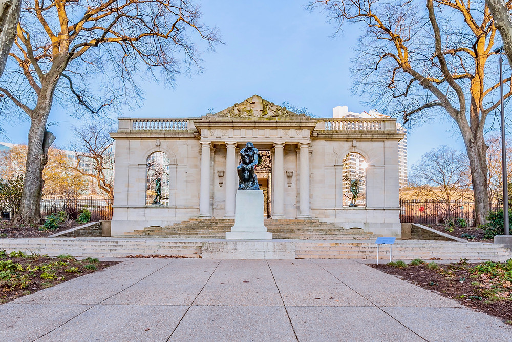 Philadelphia's Rodin Museum, with Rodin's sculpture of The Thinker in the center.