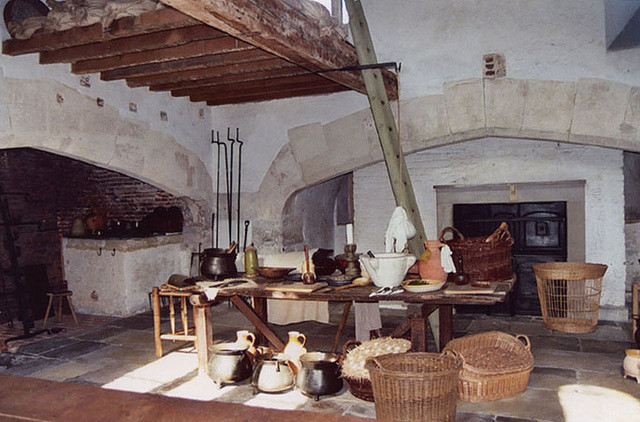 one of the fireplaces in the Tudor Kitchens