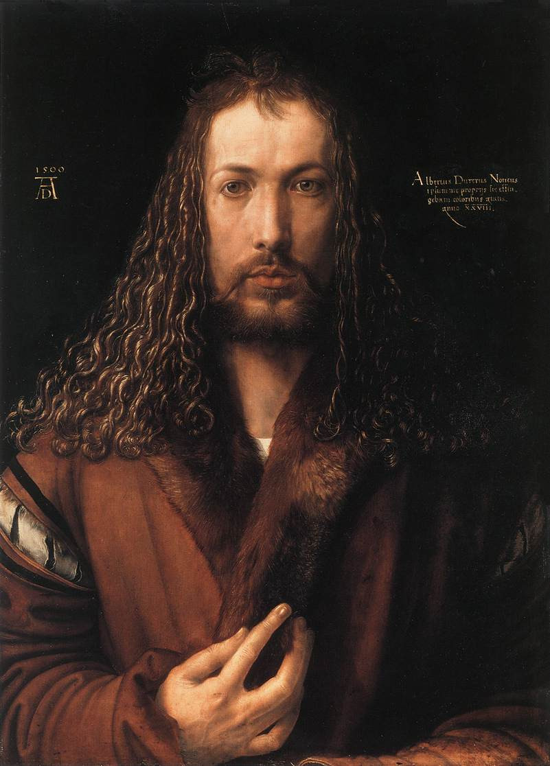 Albrecht Durer, Self Portrait at the age of 28, 1500 -- Durer could be the first inventor of the selfie