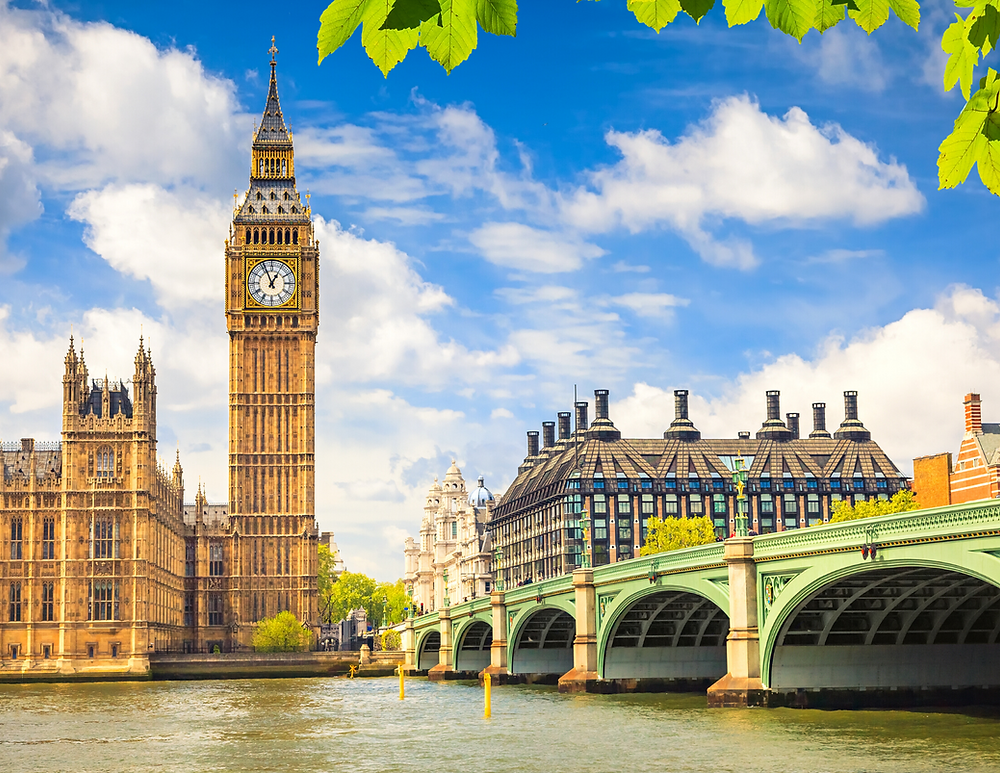 view of Big Ben on the Thames River