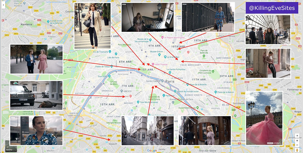 Map of Killing Eve's Paris locations, courtesy of Killing Eve filming locations  @KillingEveSites on Twitter