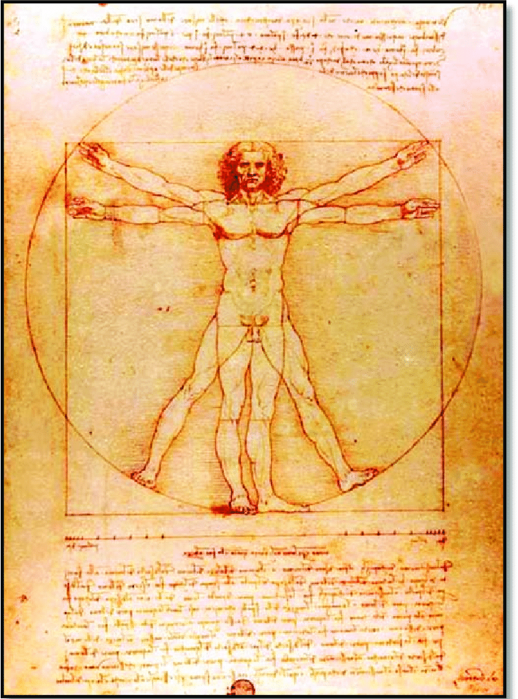Leonardo da Vinci, Vitruvian Man, 1490 -- a masterpiece of the Accademia Gallery