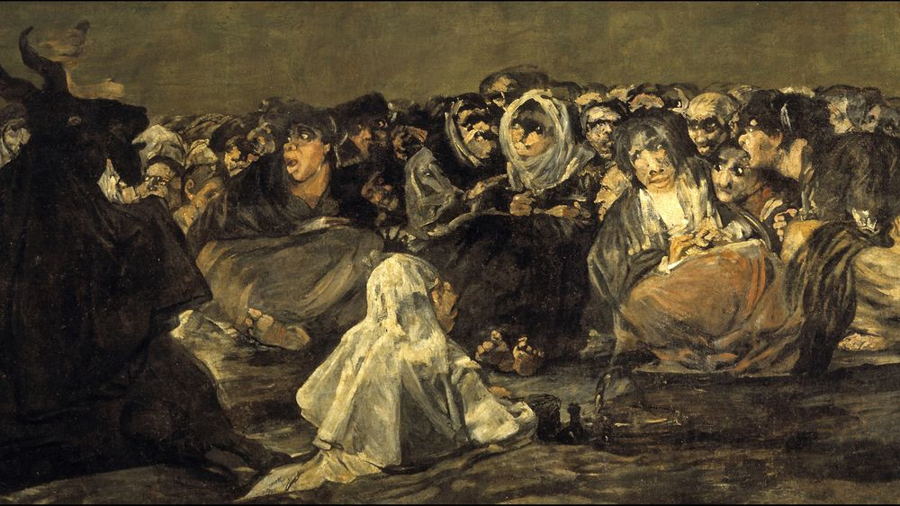 Goya, The Witches' Sabbath, 1819-1823 -- Satan, with the head of a male goat, lingers over a huddle of terrified witches