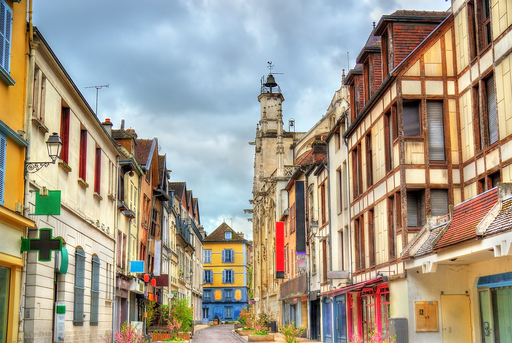 "a gorgeous street ""bursting with romance"" in Troyes France"