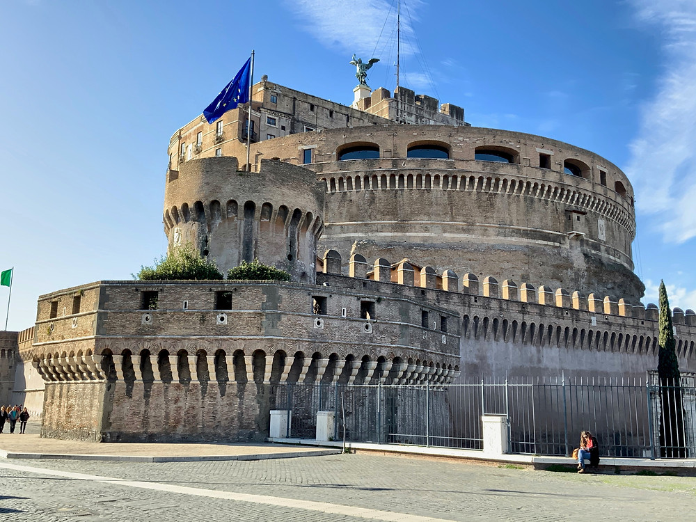 the Castle Sant' Angelo near the Vatican, also known as Hadrian's Mausoleum