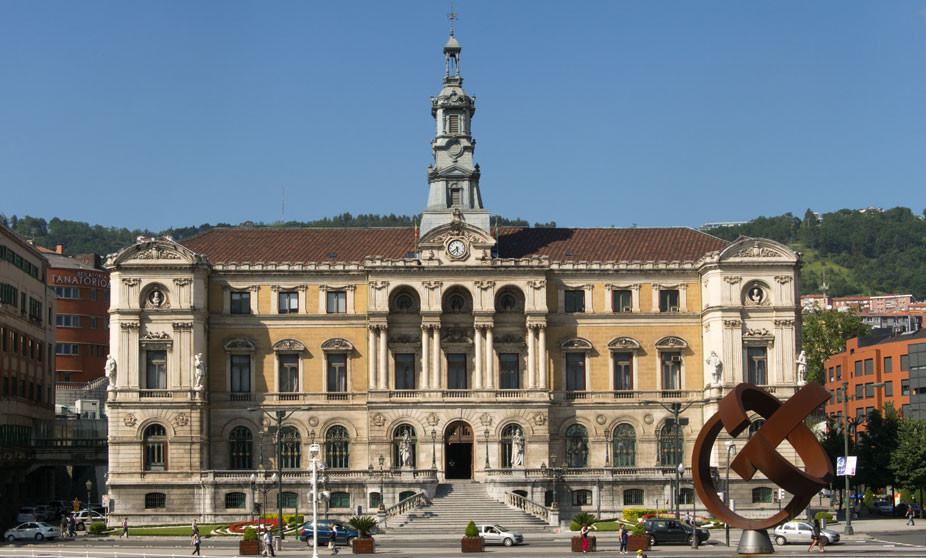 Bilbao City Hall with a sculpture by Jorge Oteiza on the right