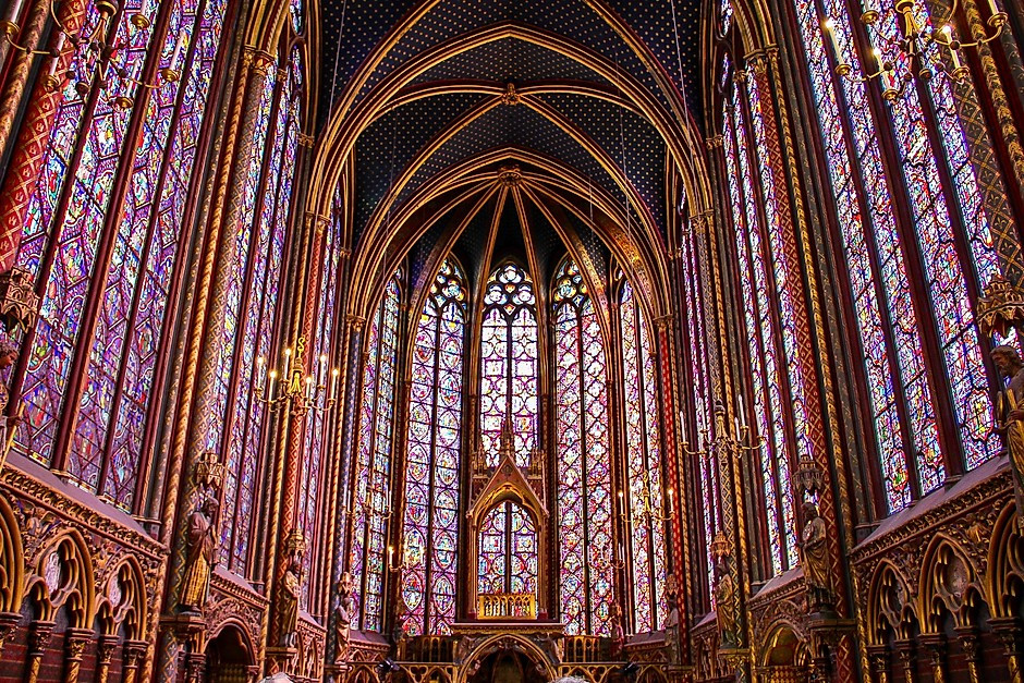 stained glass windows in the royal chapel of Sainte-Chapelle